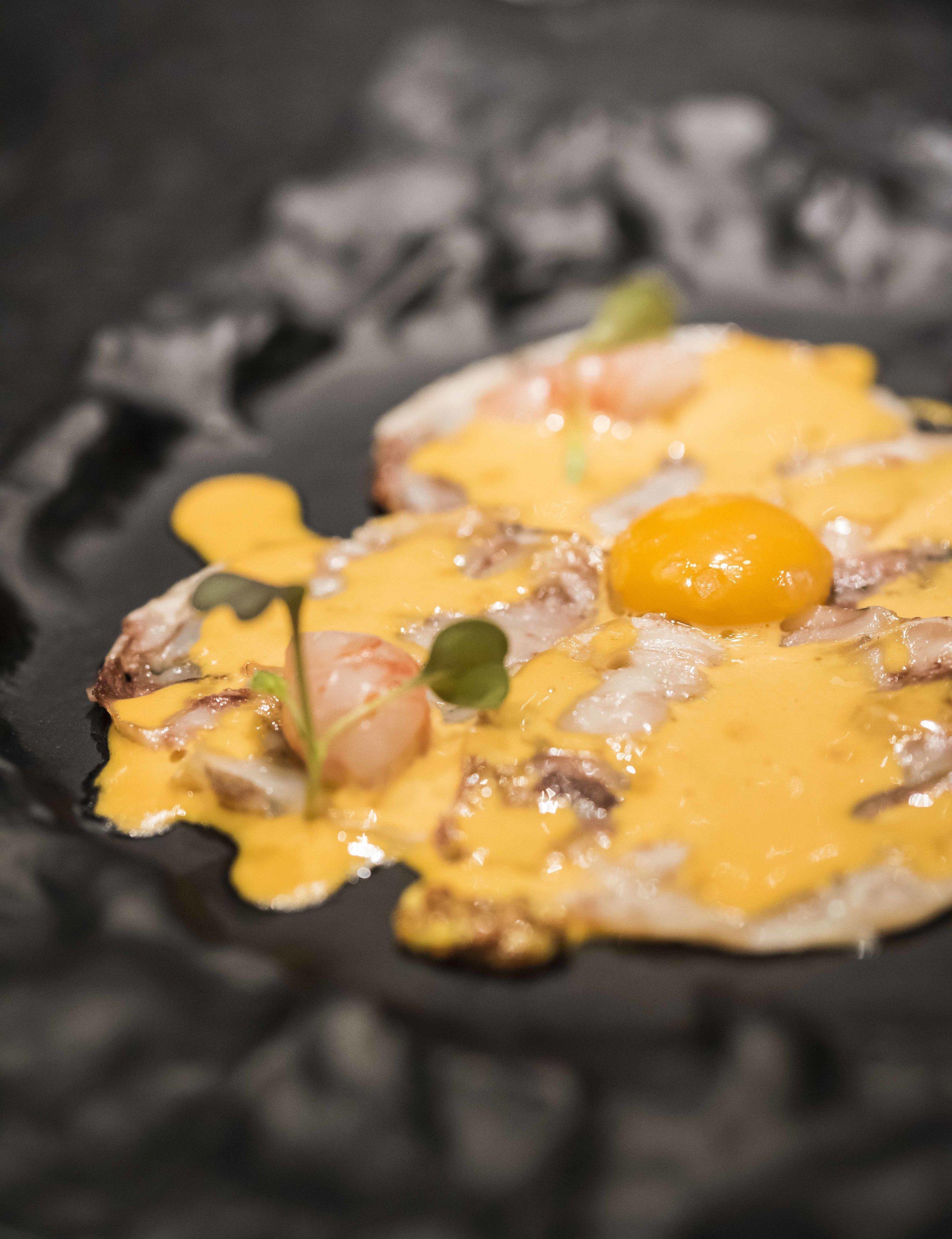 Tuna ear carpaccio with shrimp tartar and sea urchin