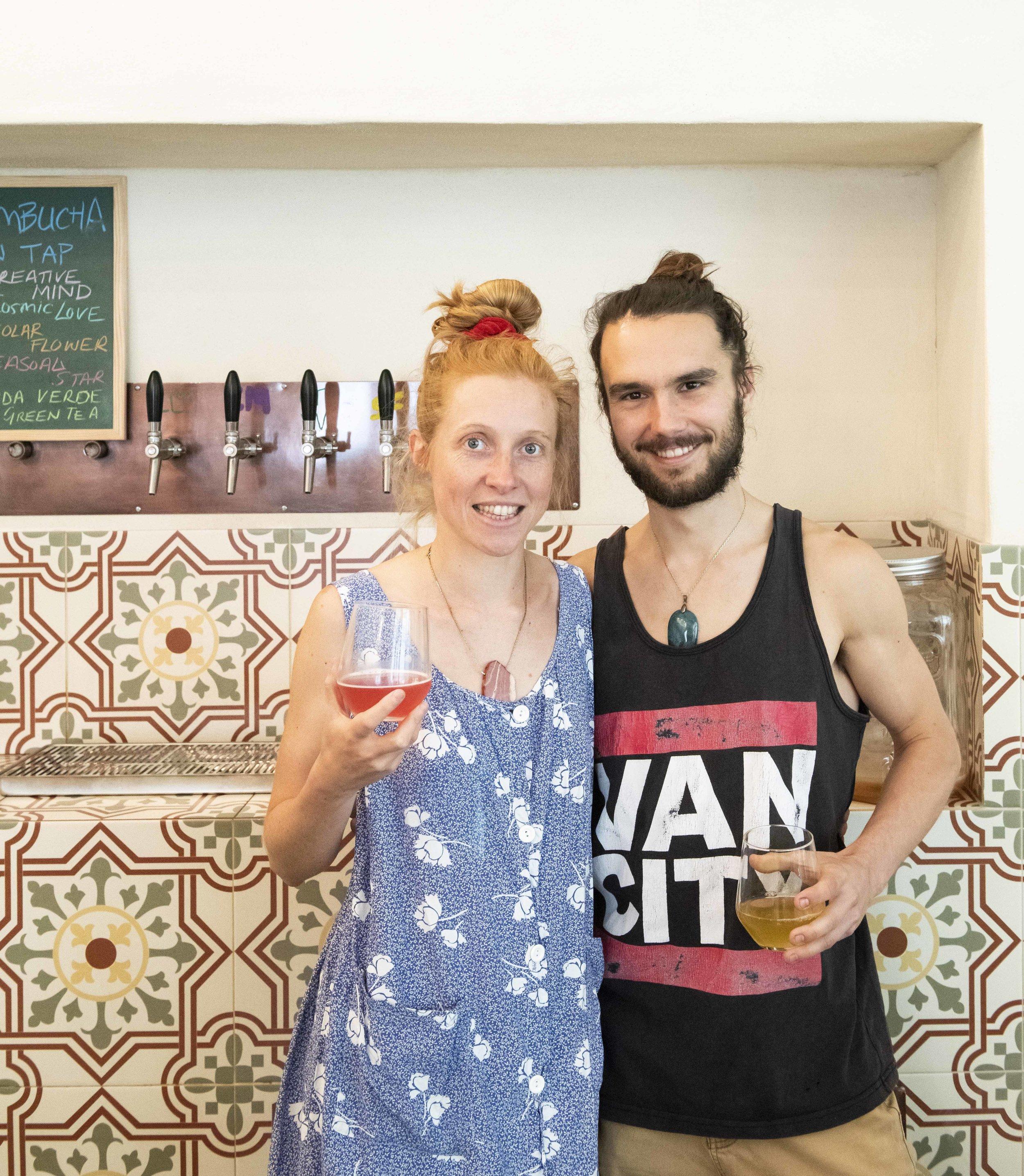 Fern and Christopher, the team behind Kashaya Kombucha. Photo © Barcelona Food Experience.