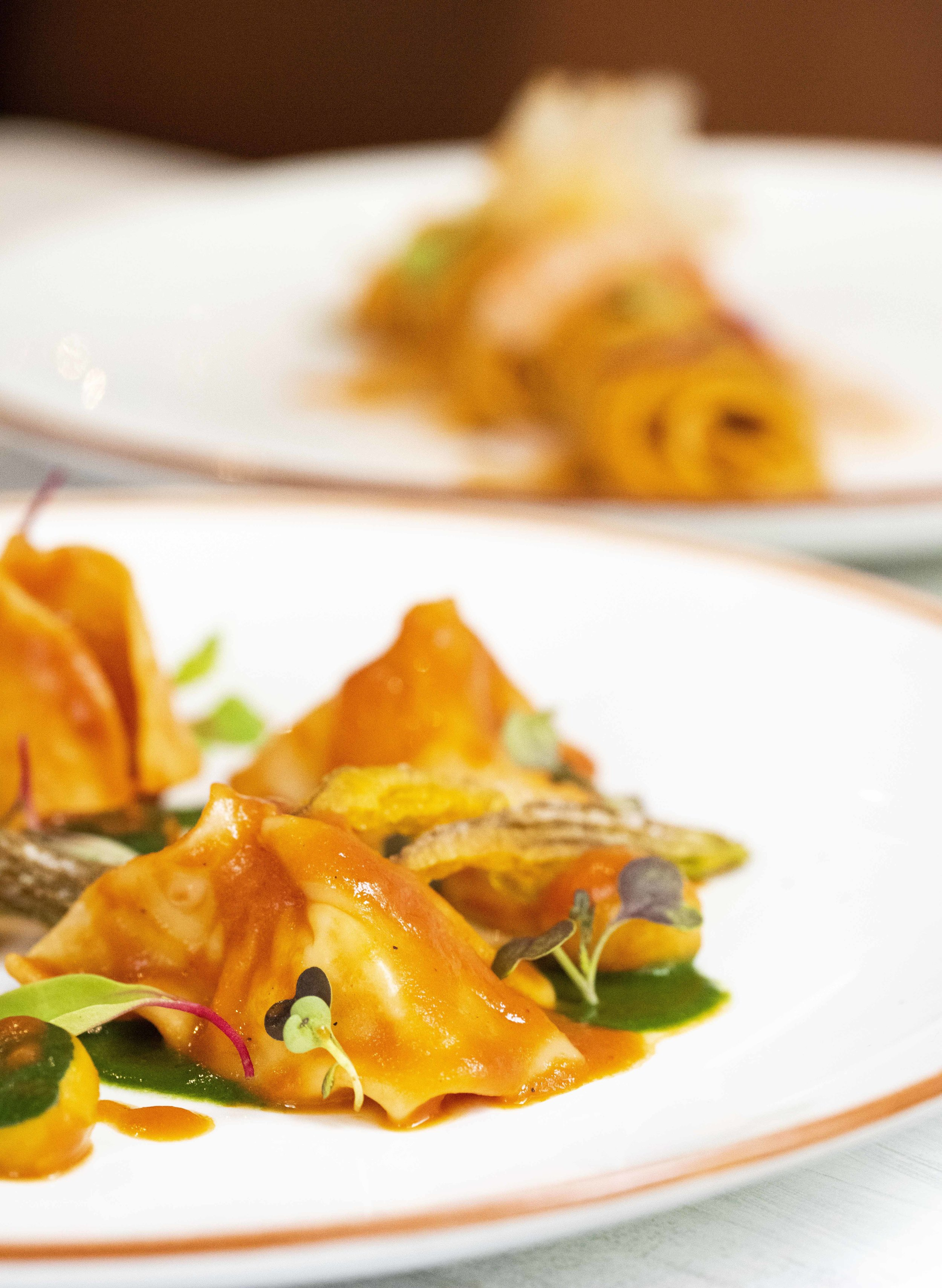 Ravioli with seabass, nettle cream and zucchini blossoms at Fastuc Restaurant, Barcelona. Photo © Barcelona Food Experience.