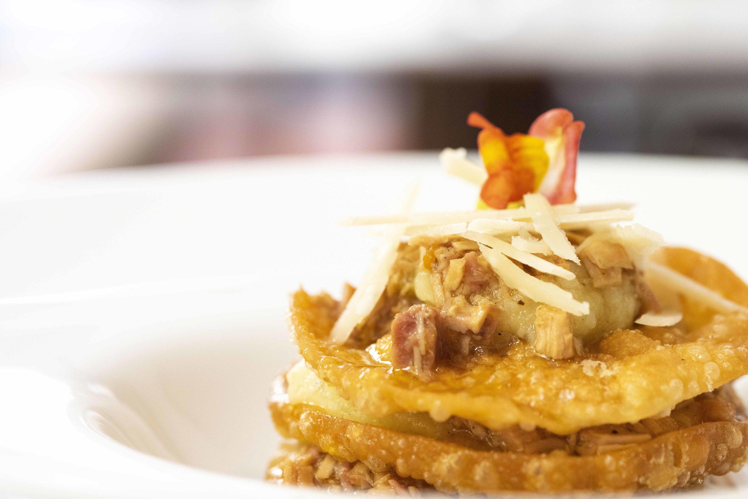 Rice lasagna with guineafowl ragu at Fastuc Restaurant, Barcelona. Photo © Barcelona Food Experience.