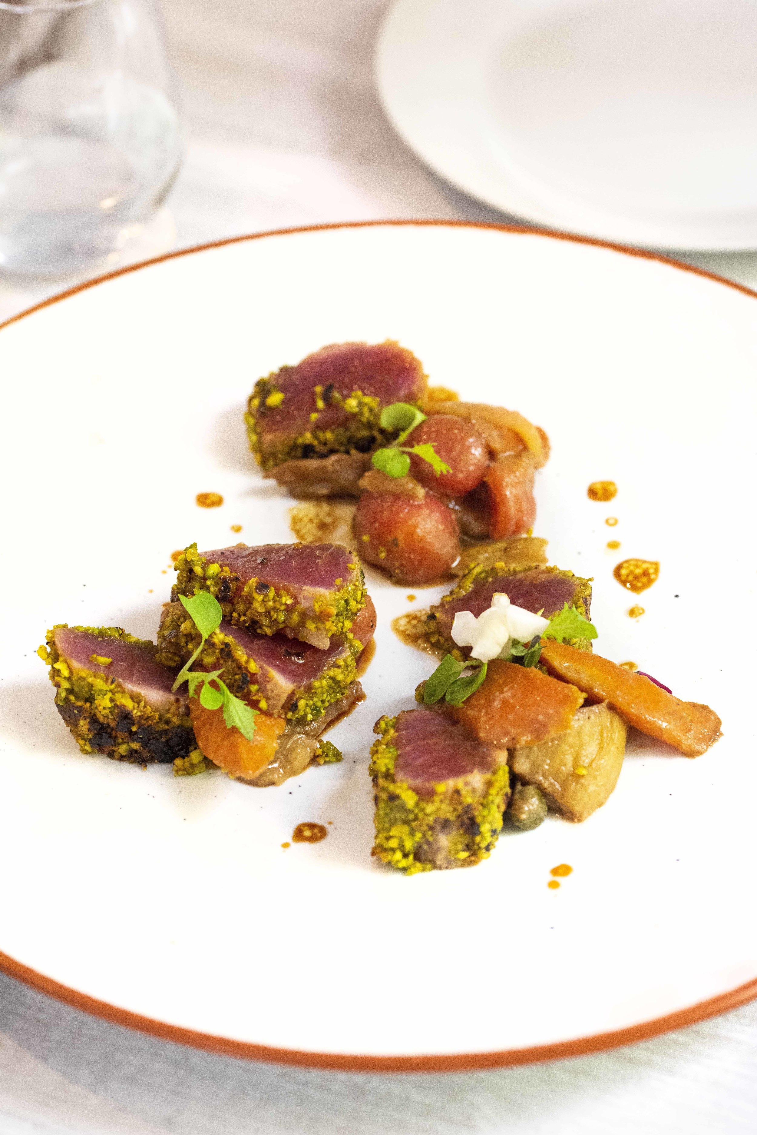 The Fastuc signature dish: tuna with a miso caponata. Restaurant Fastuc, Barcelona. Photo © Barcelona Food Experience.