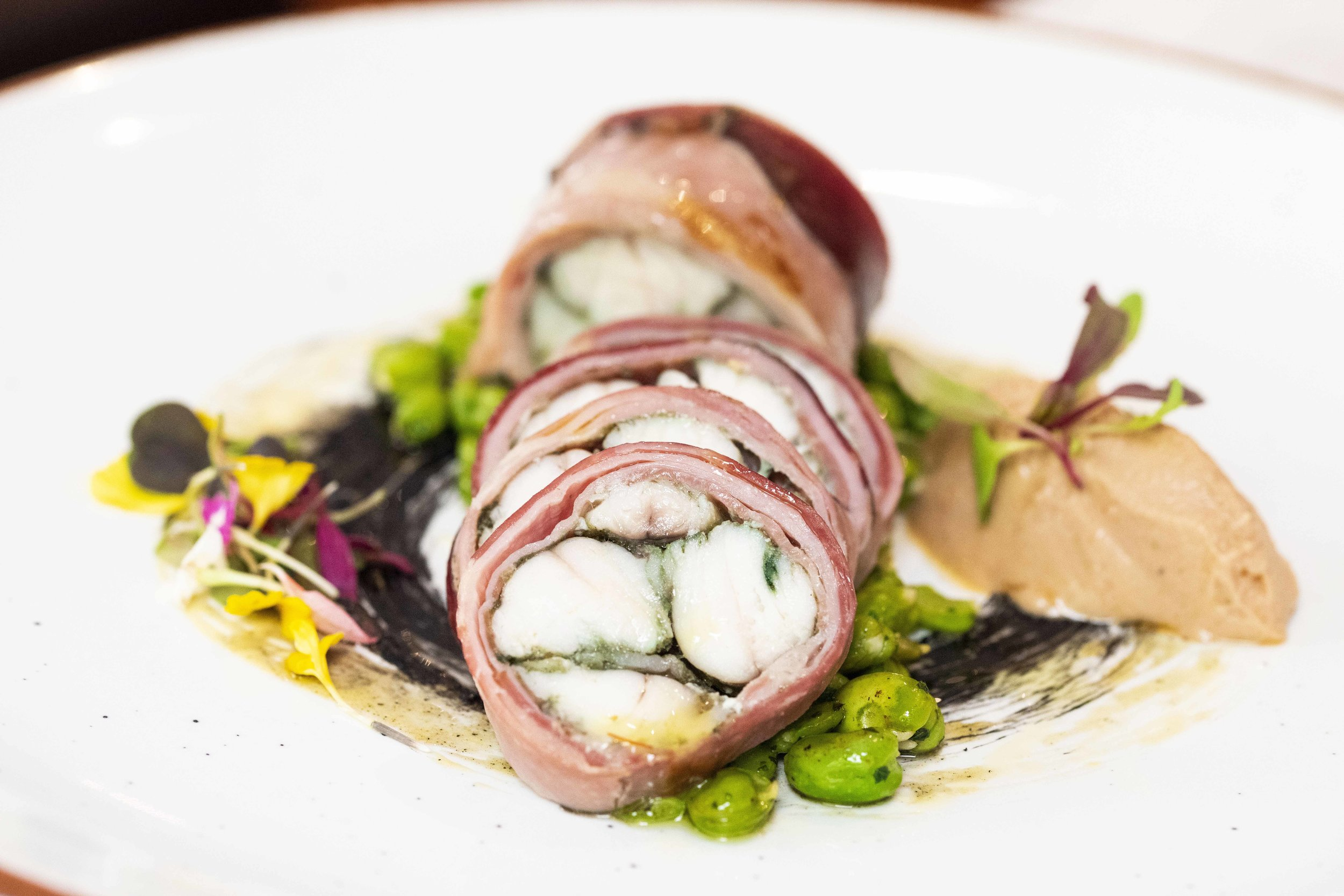 Monkfish with a licorice marble, monkfish foie gras and beans. Fastuc Restaurant, Barcelona. Photo © Barcelona Food Experience.