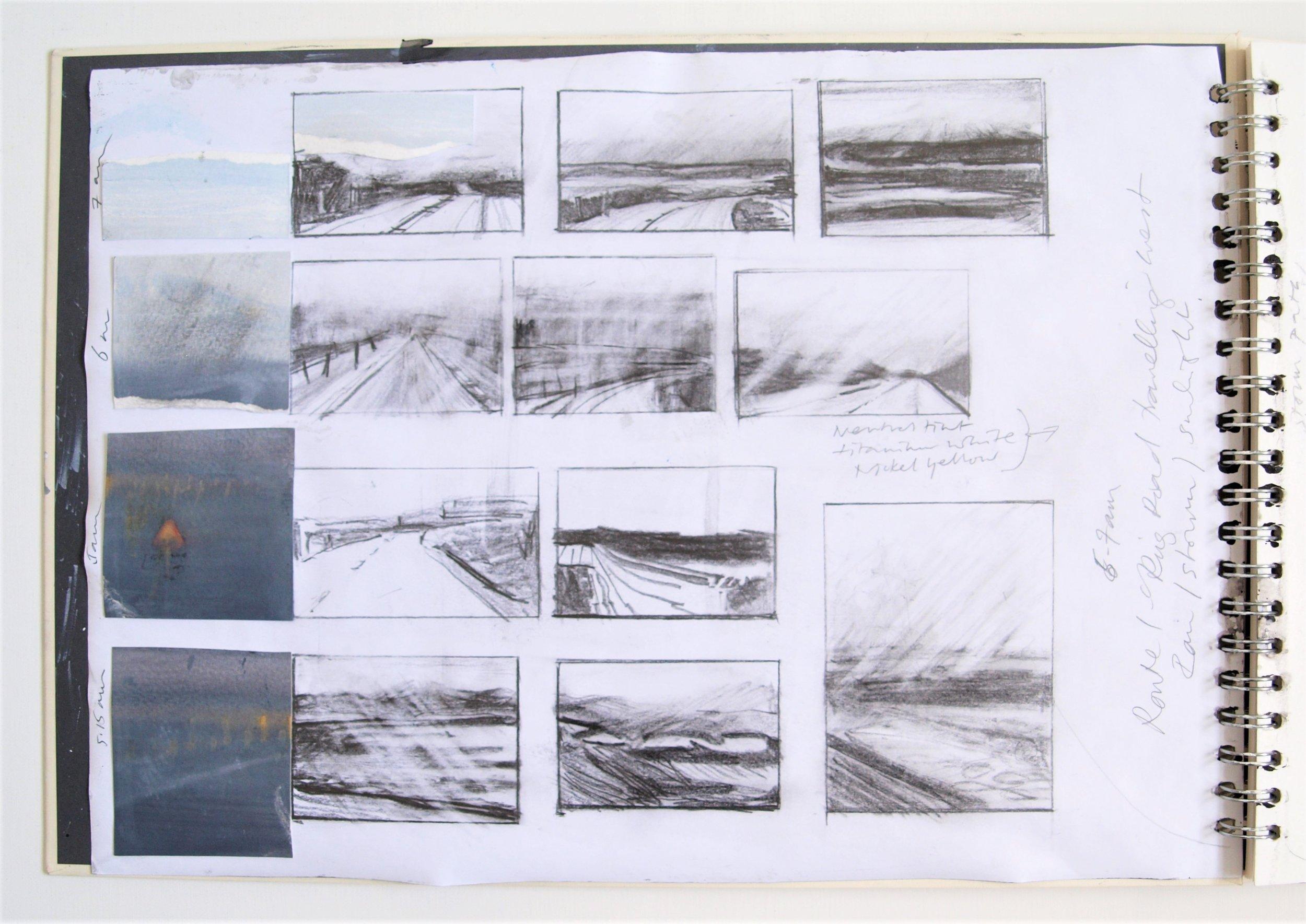 ICELAND LIGHT INTO DARK Sketchbook 2016 (page 1) C.G.GUEST.JPG