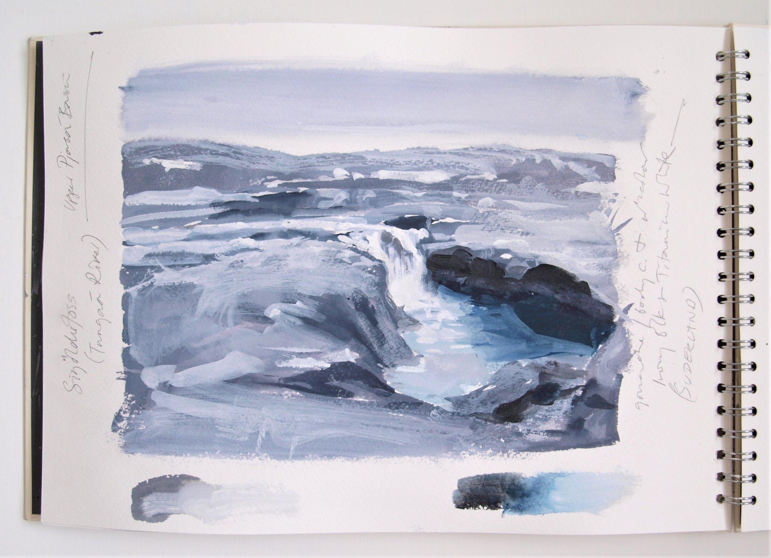 ICELAND LIGHT INTO DARK Sketchbook 2016 (page 9) C.G.GUEST.JPG