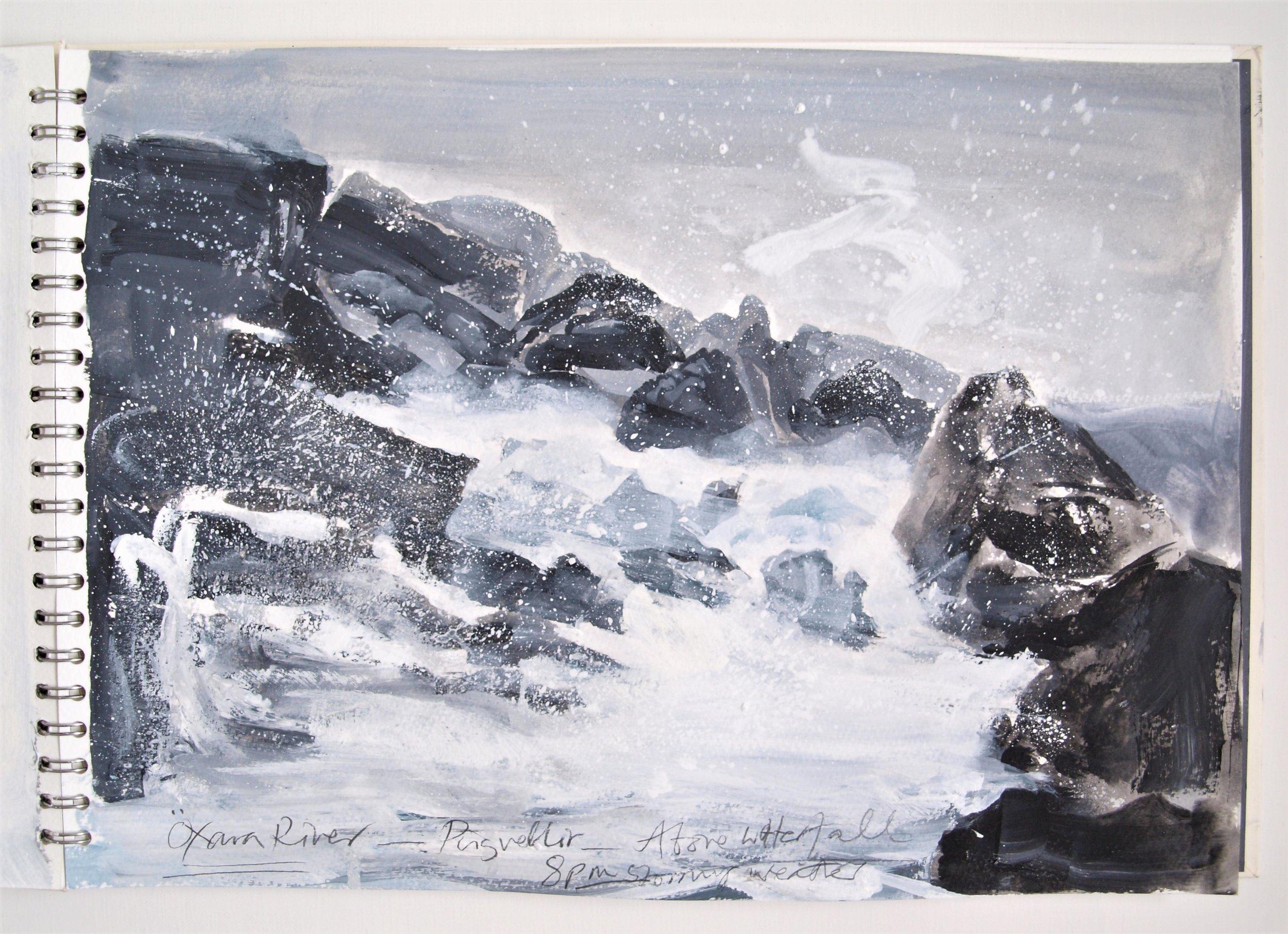 ICELAND LIGHT INTO DARK Sketchbook 2016 (page 14) C.G.GUEST.JPG