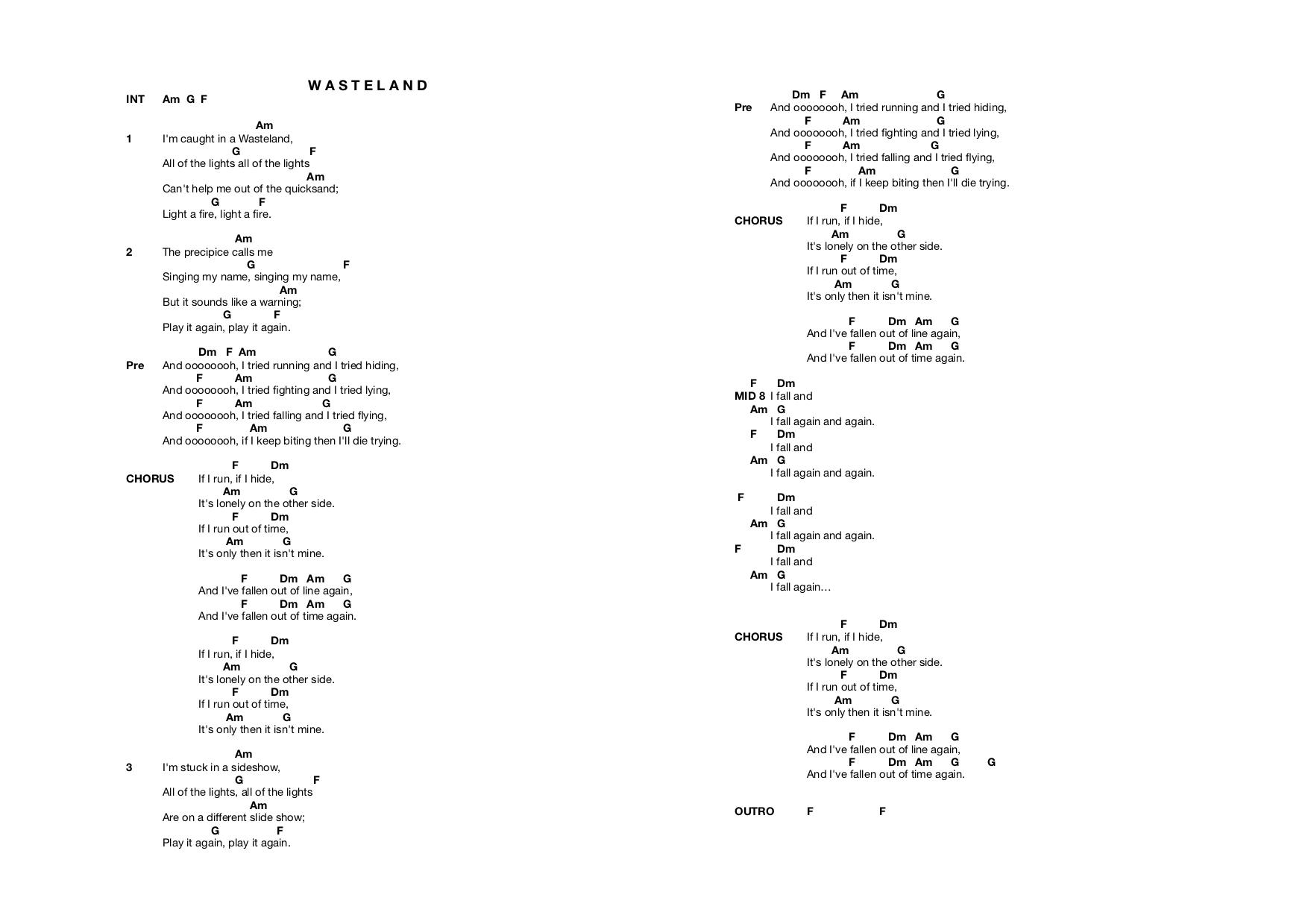 Lyrics and chords to Wasteland