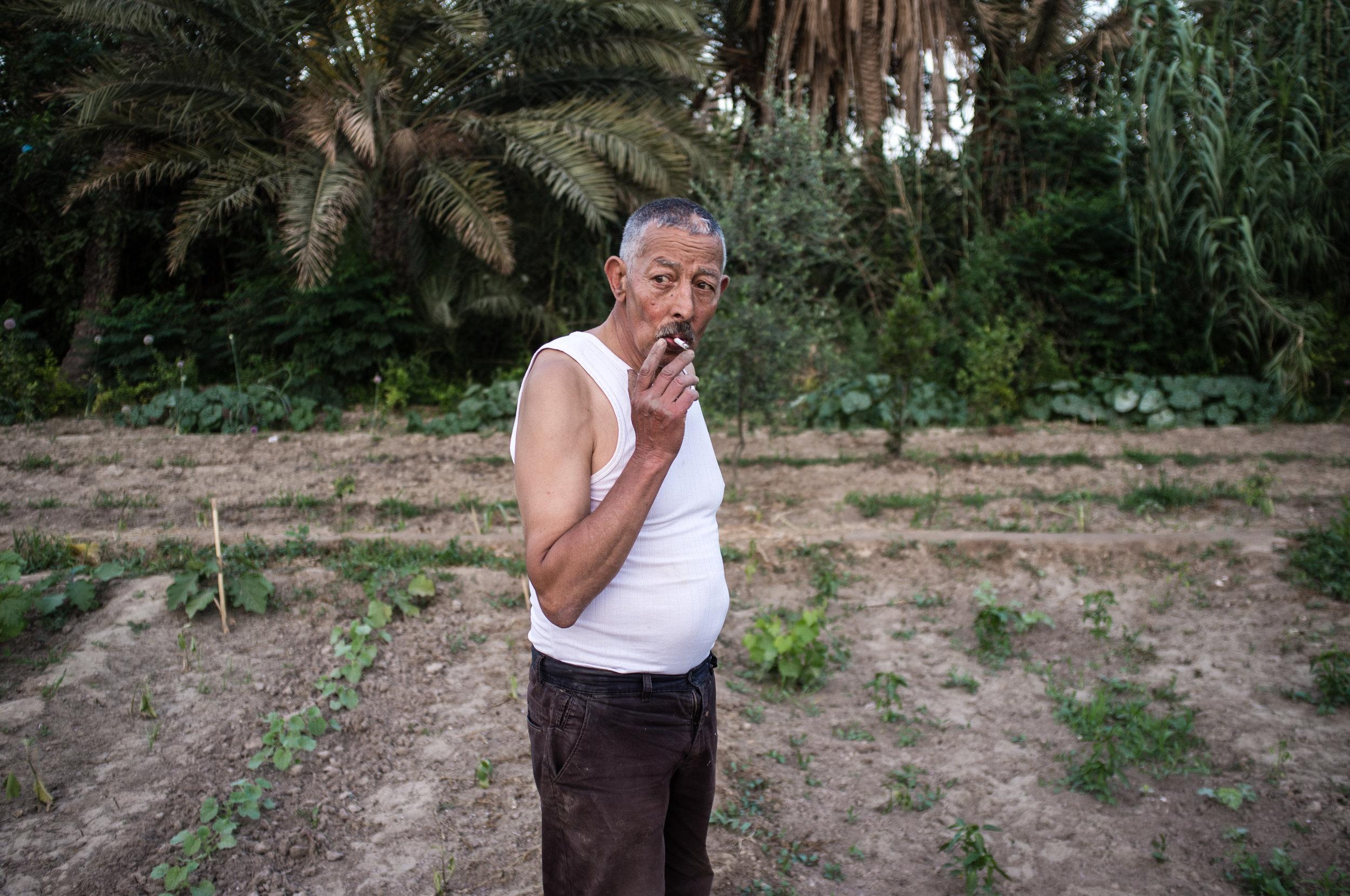 Ali Ahmed, agriculteur dans sa parcelle qu'il a hérité de son père.Oasis de Chenini àGabès, seul oasis côtier de Mediterranée, Reportage paru dans Socialter en décembre 2016.