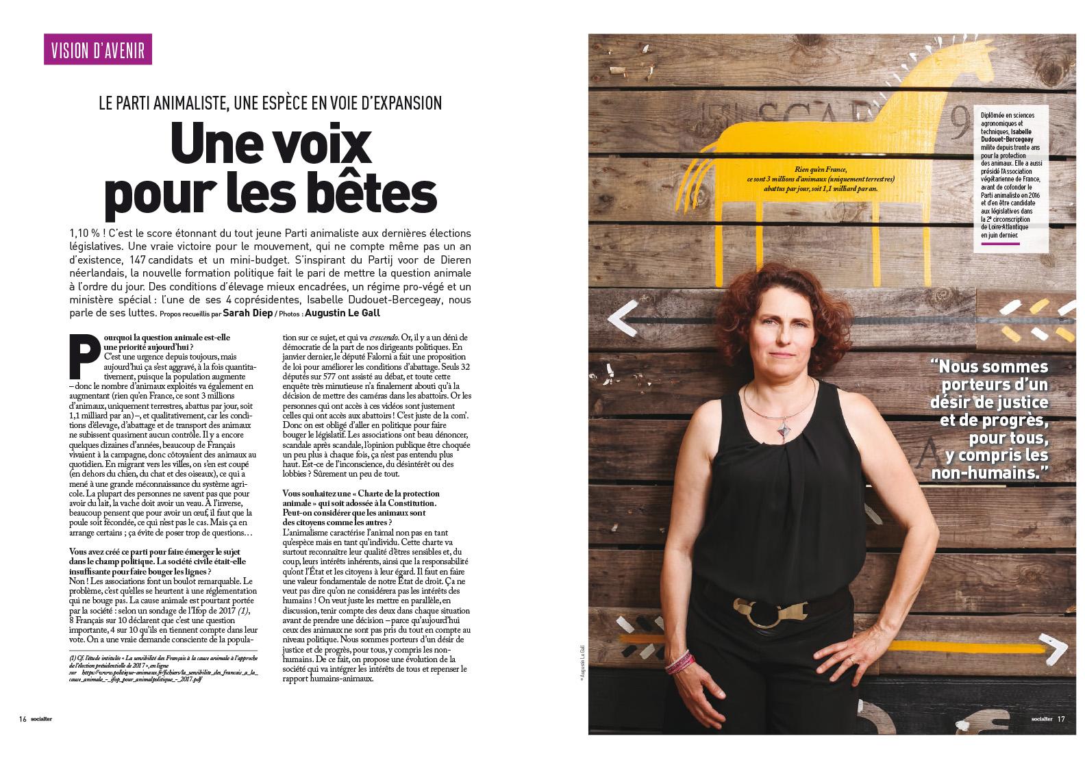 Portrait de Isabelle Dudouet-Bercegeay,, co-présidente du parti animaliste. Pour Socialter. Nantes. Août 2017. / Portrait of Isabelle Dudouet-Bercegeay, co-leader of the animal rights party . Nantes. July 2017. For Socialter magazine.