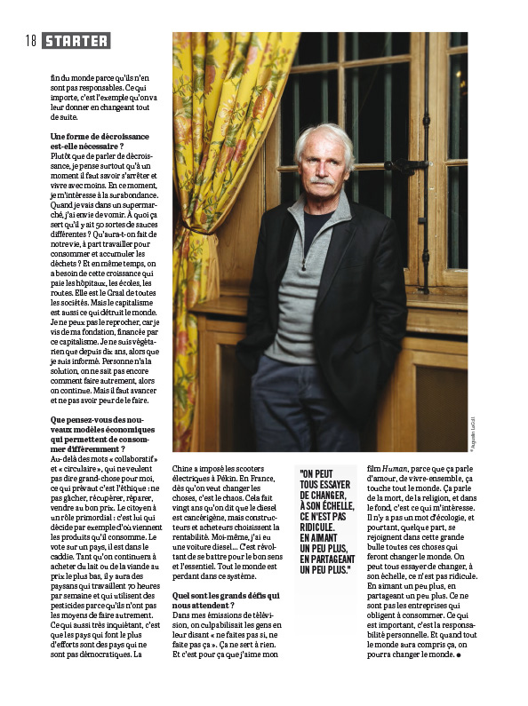Yann Arthus Bertrand,  pour Le spécial Idée Collaborative de Socialter. Dec 2017.  Write here...