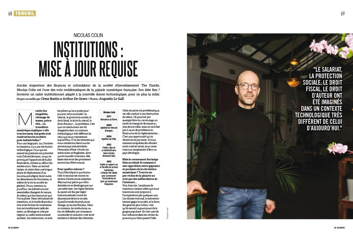 Nicolas Colin  , pour le spécial «Idée Collaborative » de Socialter. Dec 2017.