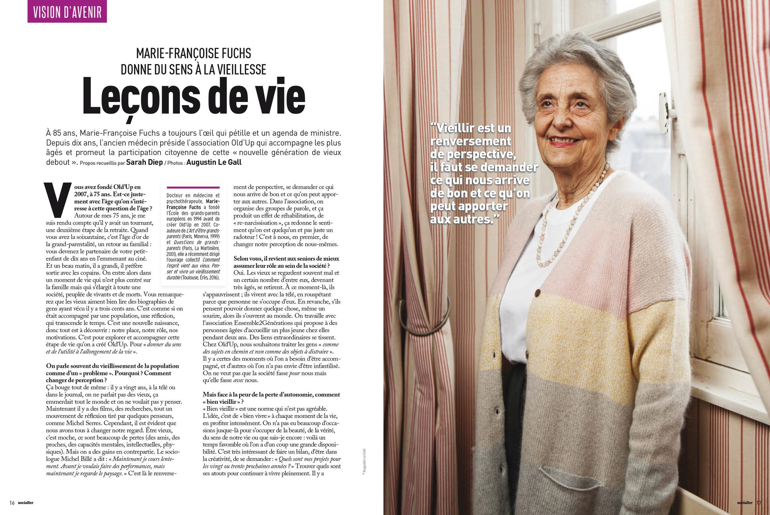 Marie-Françoise Fuchs, fondatrice de l'association Old'Up, pour Socialter. Décembre 2017.