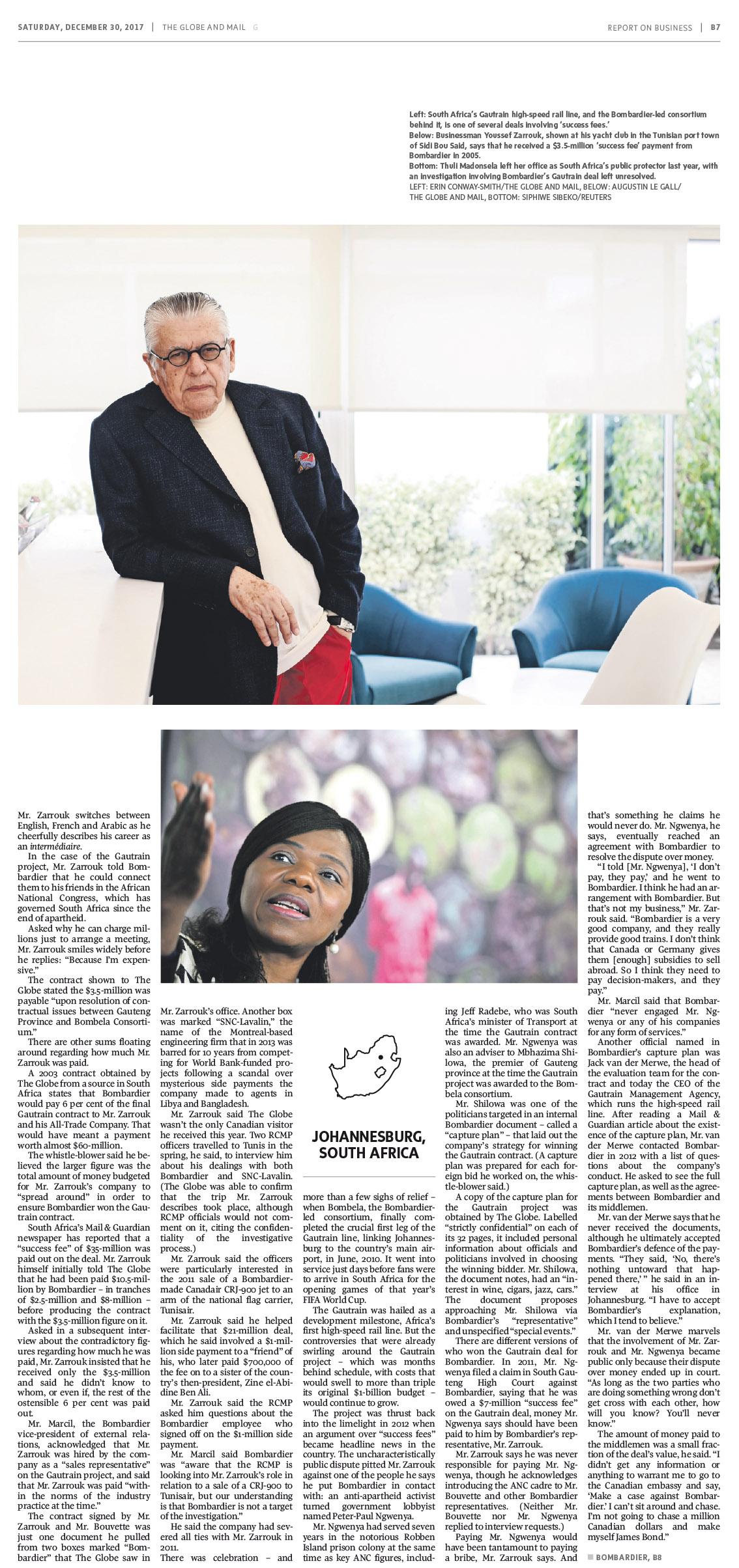 The Globe and Mail. Janvier 2018. Portrait de Youssef Zarrouk. Tunisie.