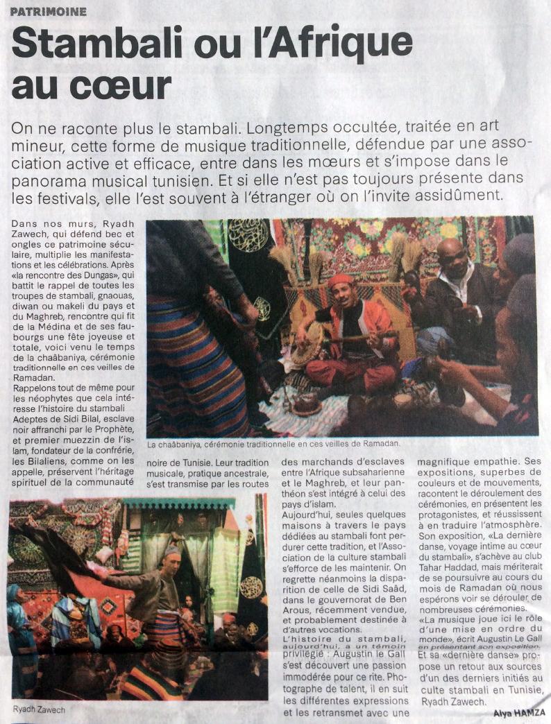 La Presse (Tunisie) su l'exposition à Tahar Haddad. Avril 2018.