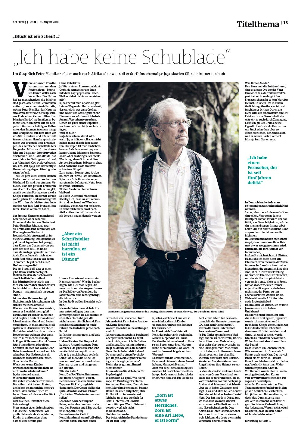 Portrait of writer Peter Handke in Der Freitag. 2018.08.22