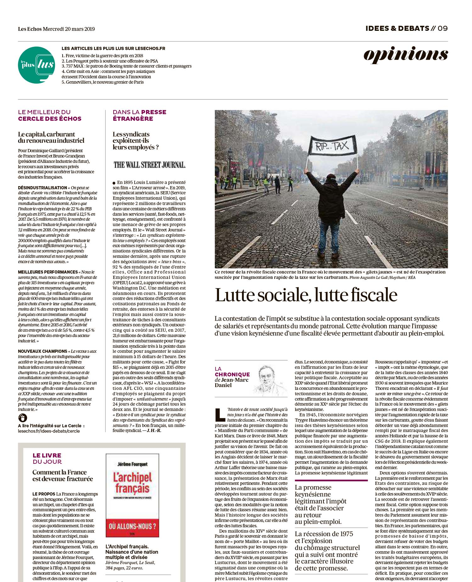 Les Echos. 20.03.2019. Web + Print.