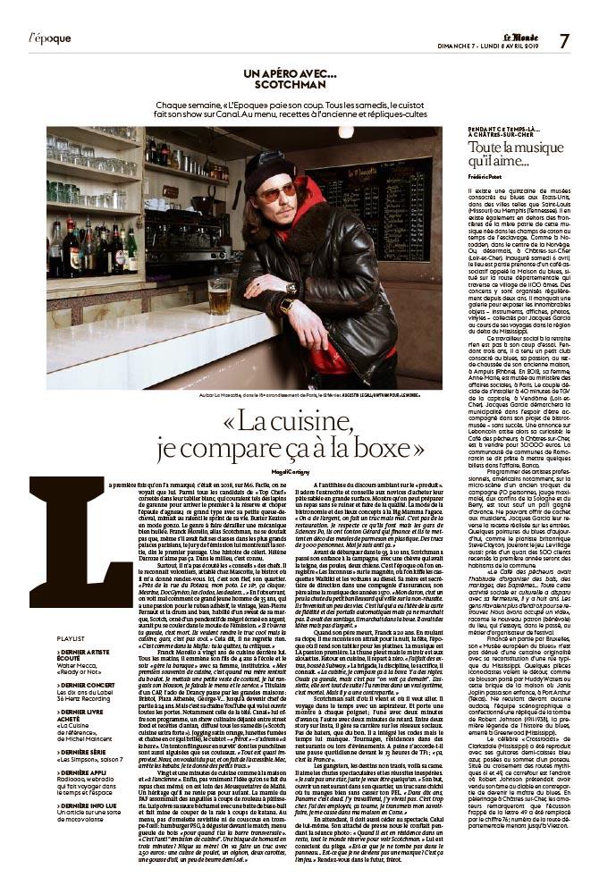 Portrait de Franck Morelo, alias Scotchman, pour Le Monde. 07-08 avril 2019/