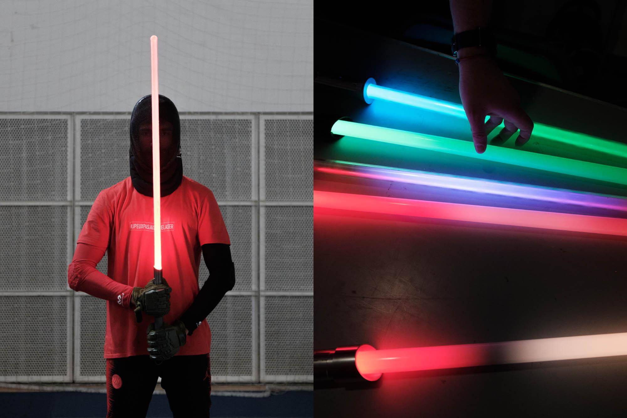 Un combattant de sabre laser pendant l'Open de France 2019. Paris.
