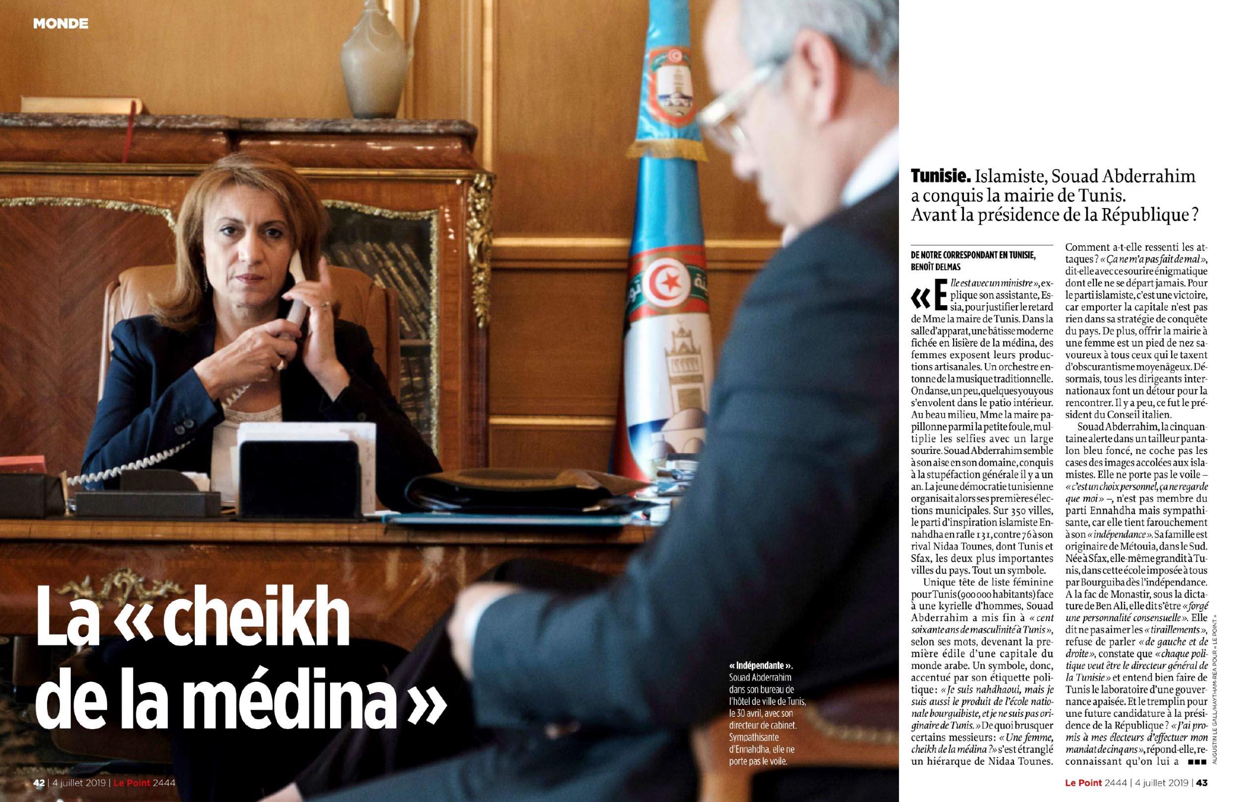 Reportage et portrait  de Souad Aberrahim, première femme maire de Tunis. Tunisie (Pour le Point- Agence REA). Juillet 2019.