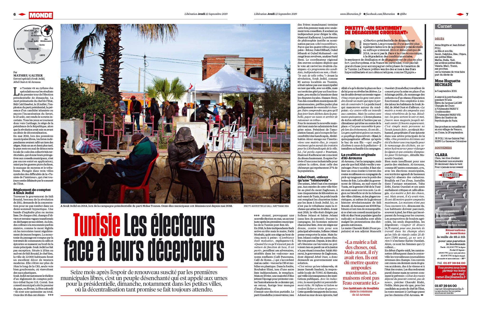 Libération, Sept. 11, 2019. Elections in Tunisia.
