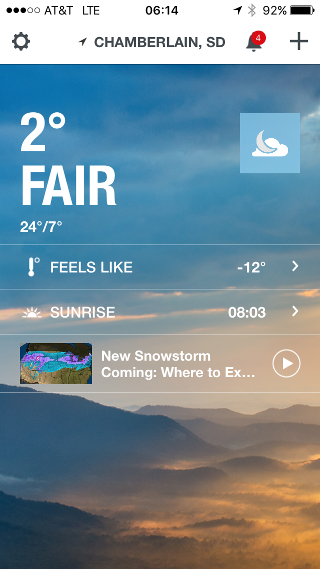 "Such ""pleasant"" weather in South Dakota."