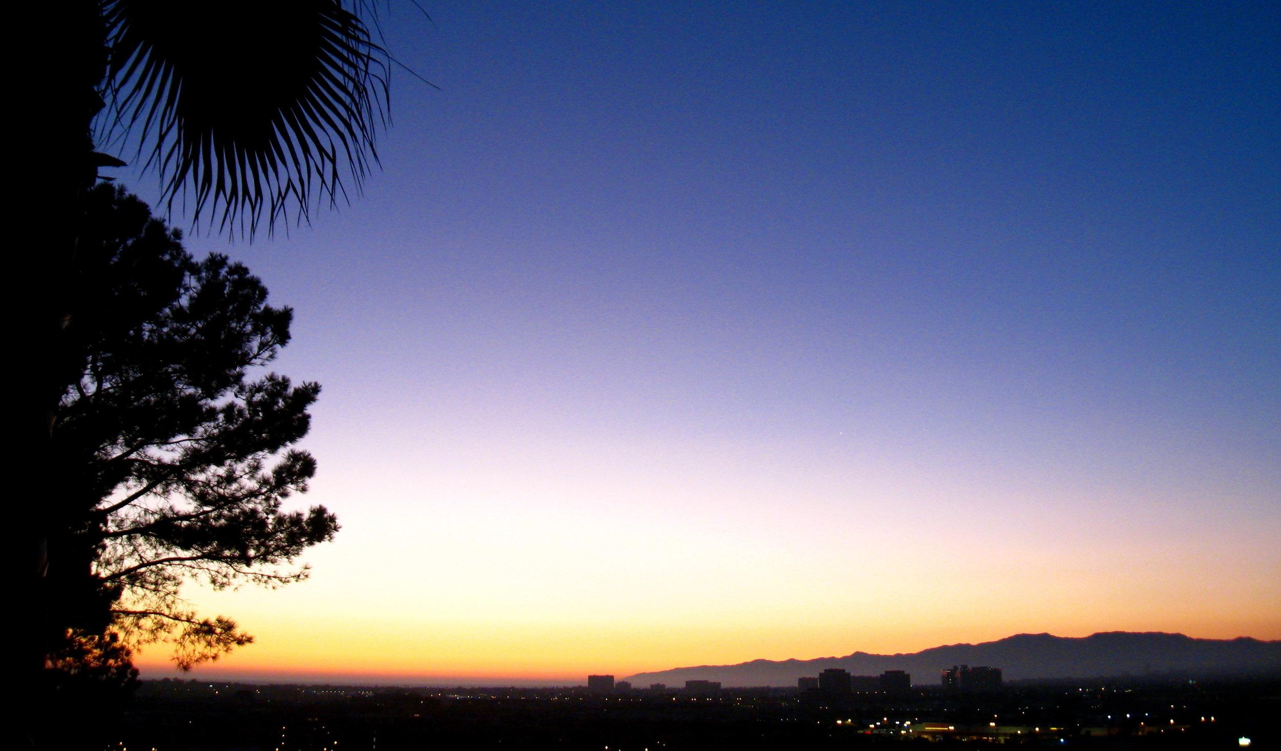 Matt's gorgeous sunset view at the edge of LMU bluff.