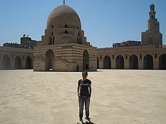 Lyra in front of IBN TULUN MOSQUE IN CAIRO.