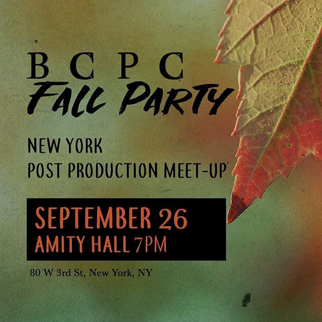 NY save the date. Our next meet-up is a fall party! Join us on 9/26 at Amity Hall. Bring your whole post department🍁🎃
