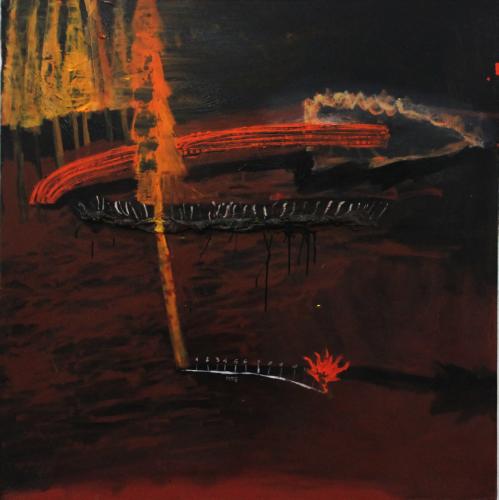 "Artist Eddy Maikel Sotomayor La caida del pino rojo Oil on Canvas 51"" x 51"" 2015"