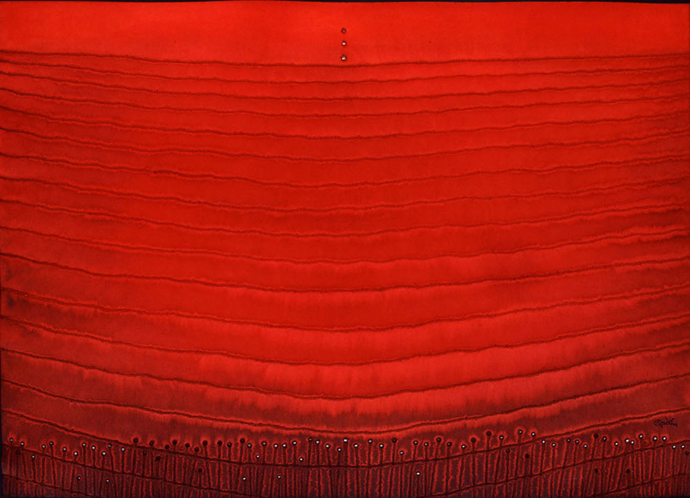 """Prana  , 2004    Ink and dye on paper    39 x 55""""    (Inventory# SQ270 (0501) stg)    Stock NY    $59,000"""