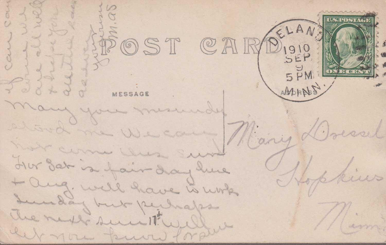 8. Crow River Sepia Toned Postcard Back