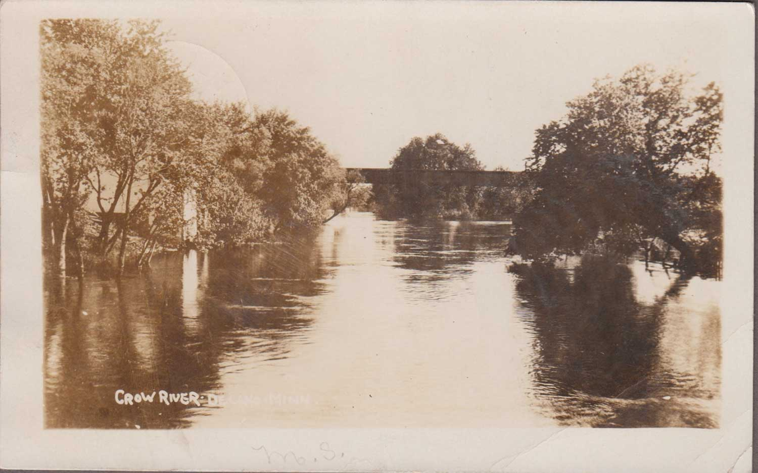 7. Crow River Sepia Toned Postcard