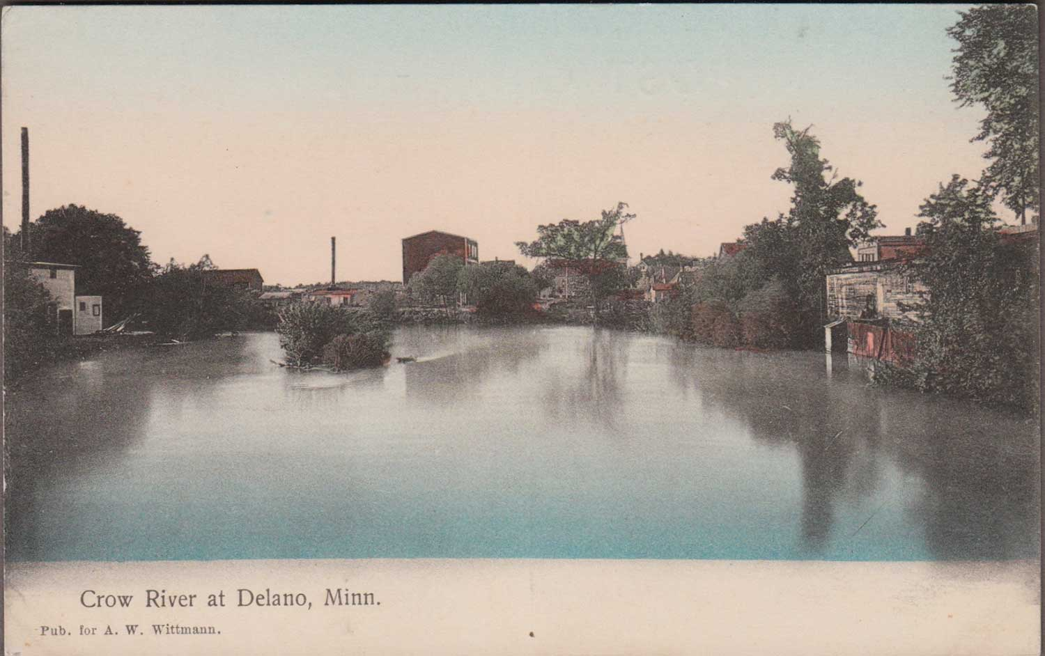 9. Crow River Color-tinted Postcard