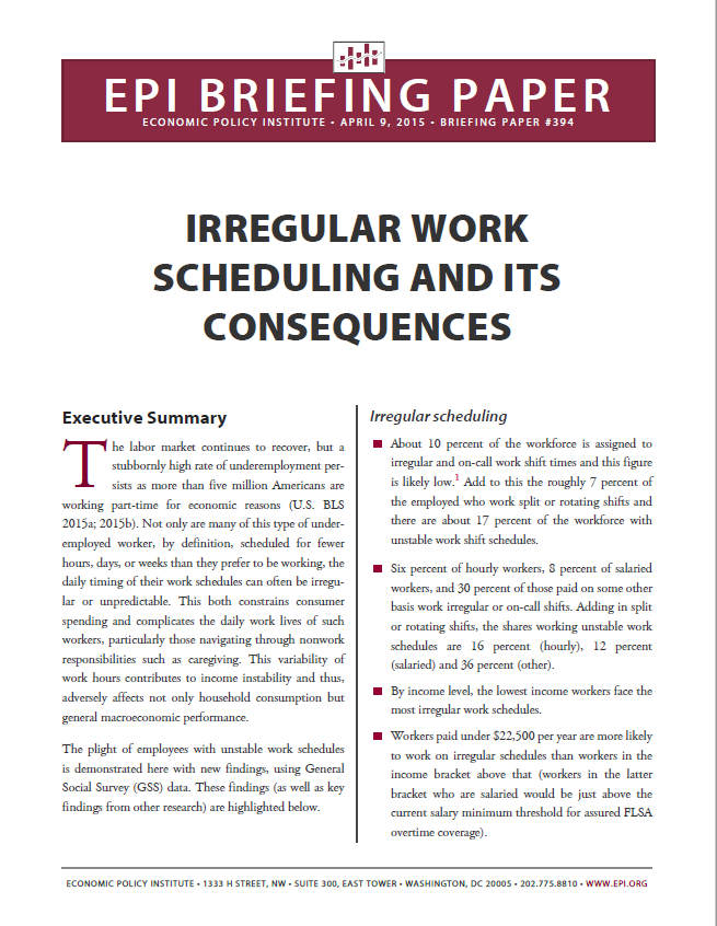 Irregular Work Scheduling and Its Consequences