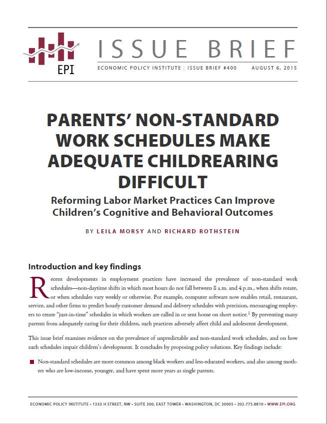 Parents' Non-Standard Work Schedules Make Adequate Childrearing Difficult