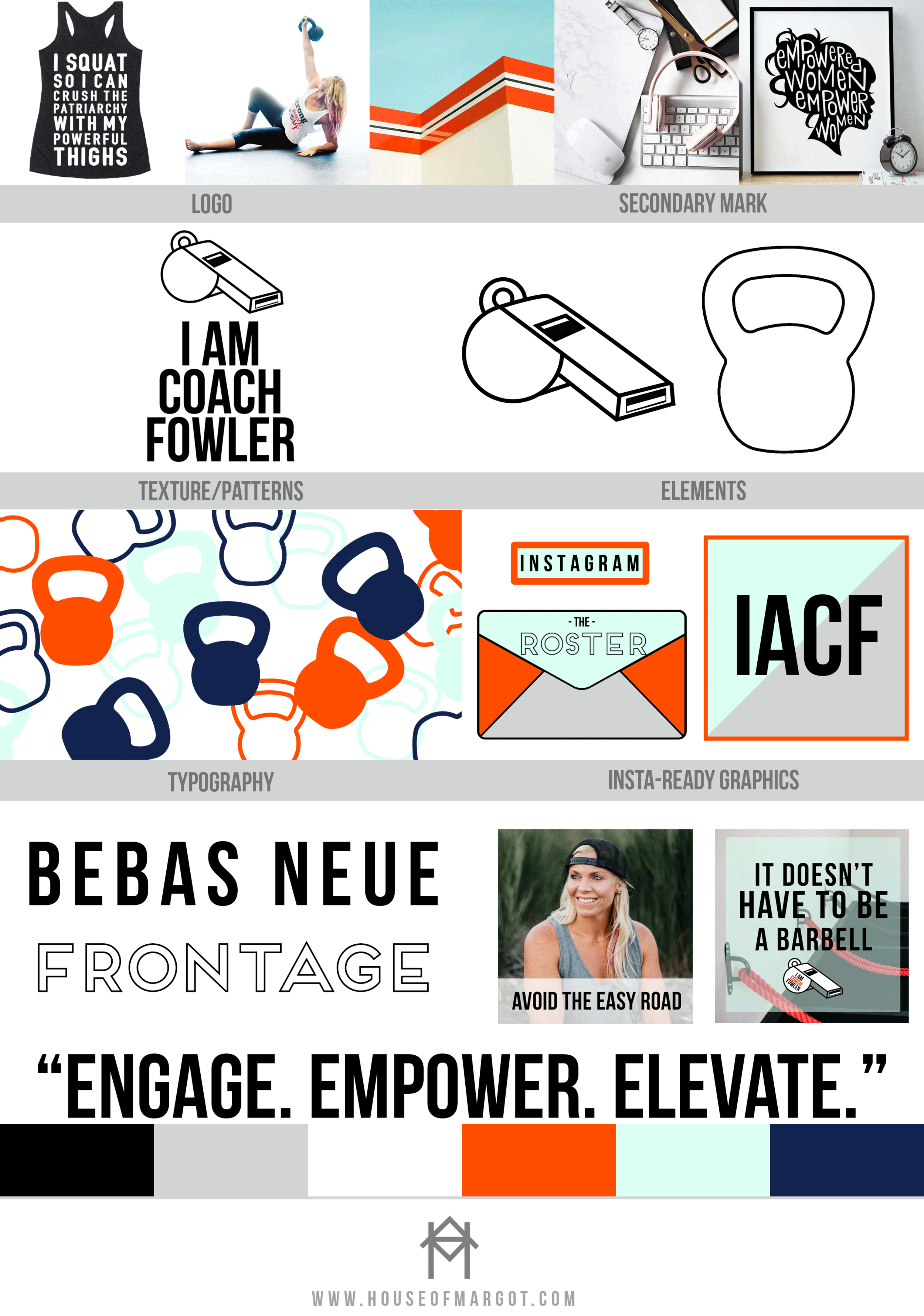 Brand Board | I Am Coach Fowler | Fitness Photography | Fitness Brand | Personal Training | Bebas Neue | Frontage Font | Kettle Bells | Web Design | House of Margot