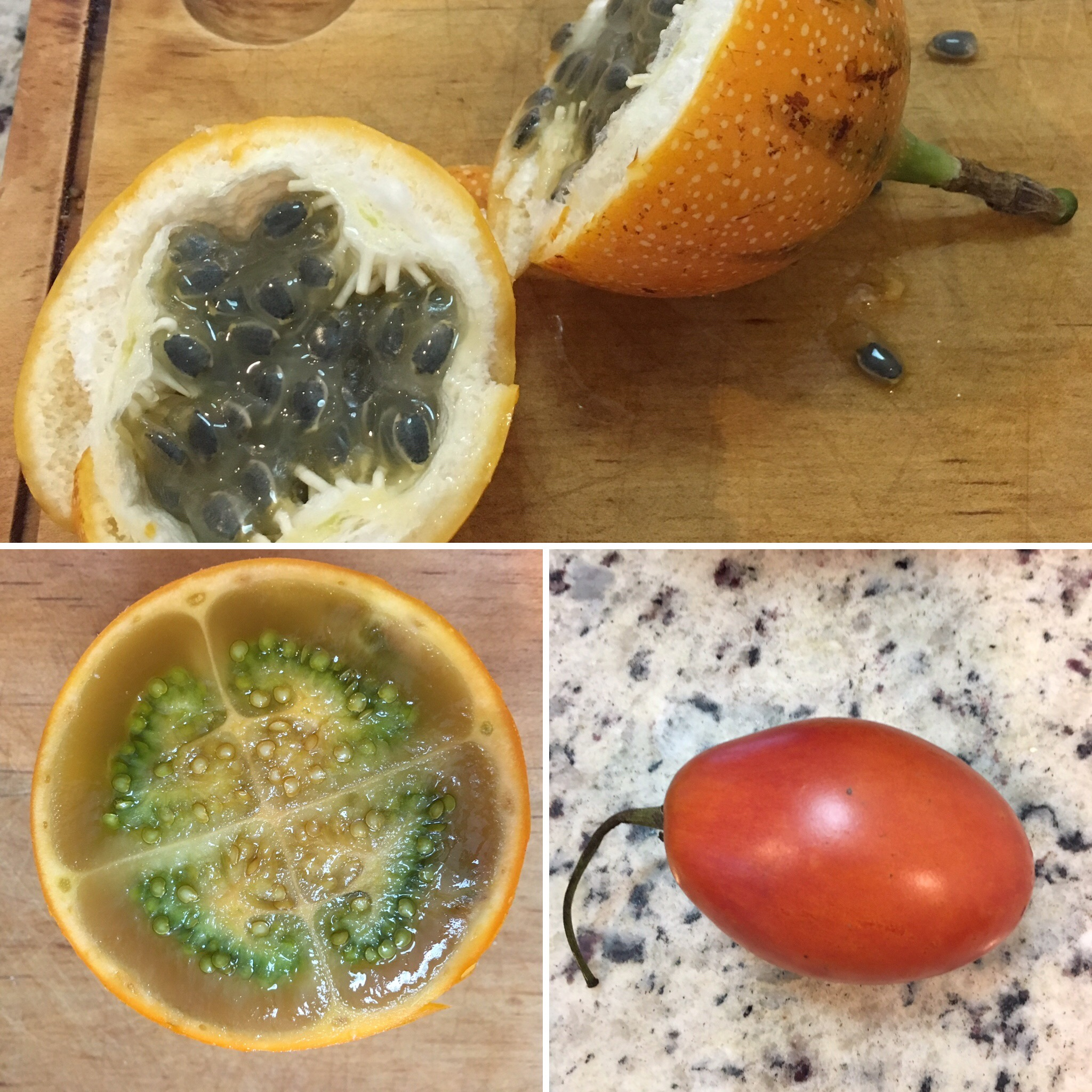 Top: granadilla - Bottom left: lulo - Bottom right: tomate de árbol