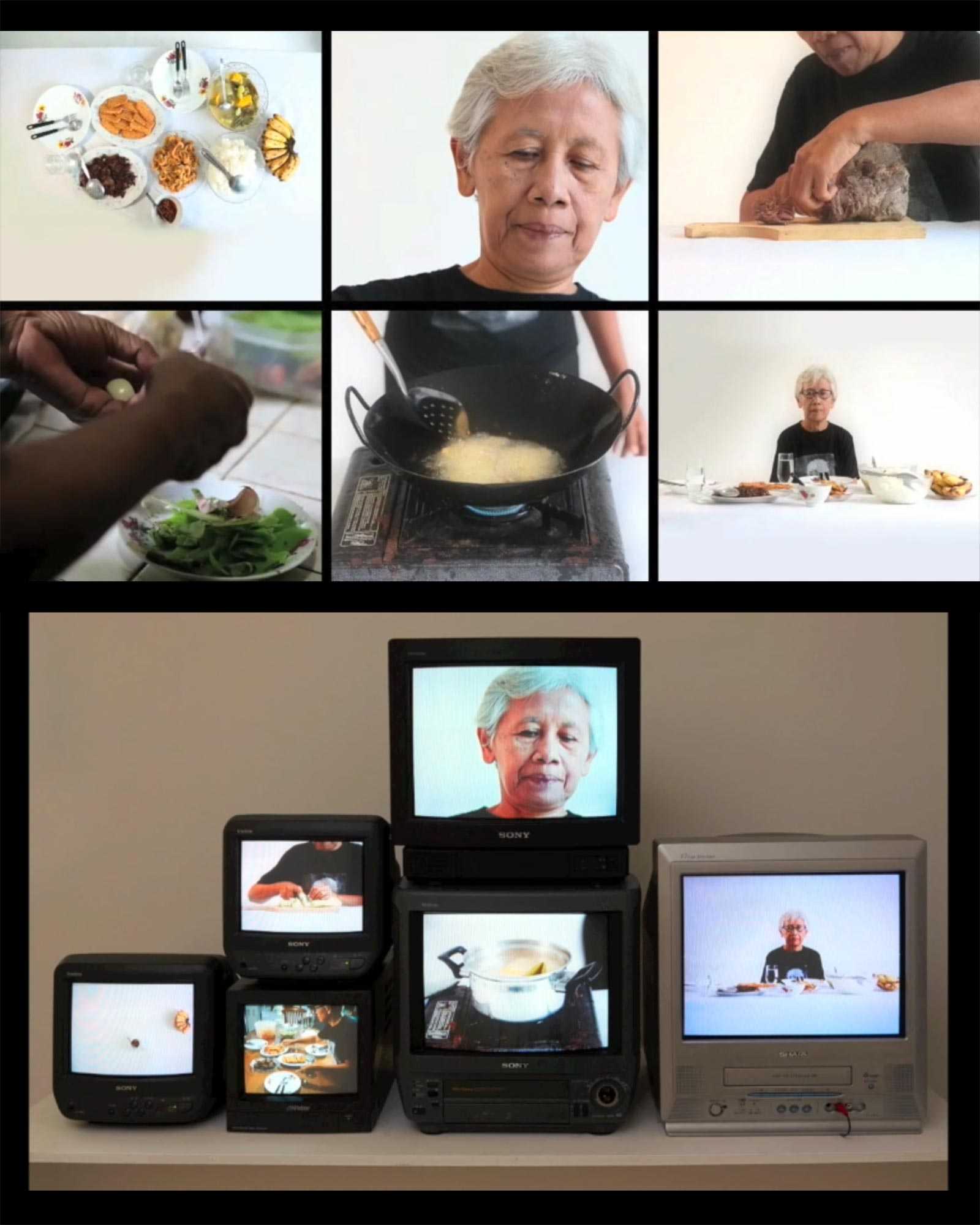 CERITA DARIDAPUR(KITCHEN NOTES):   6 Channel Video and Audio Work. Acollaboration work with Joey Christian