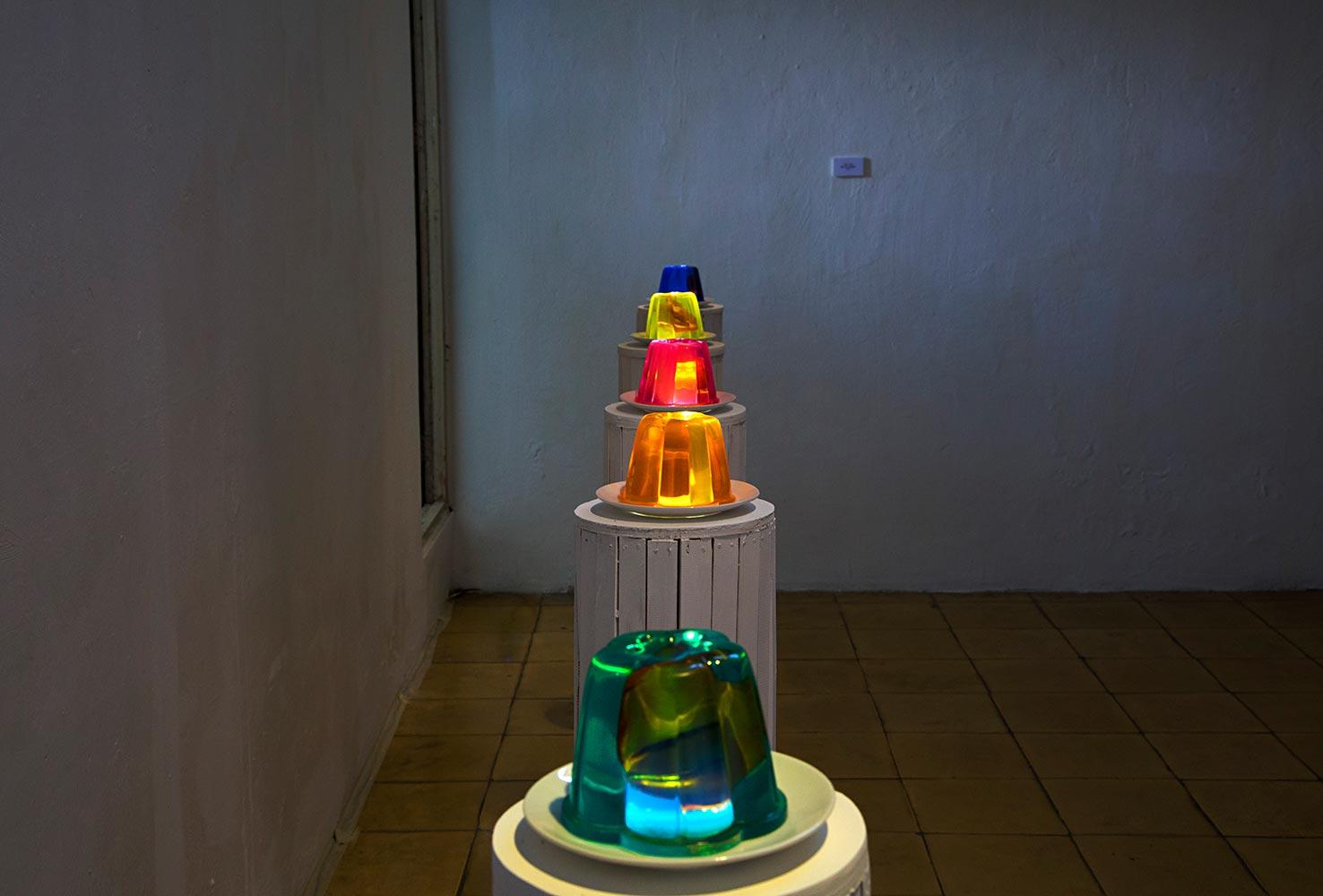 BUT IT'S ALRIGHT :  Resin Work, 39 cm (height) x 20 cm (diameter), light works, 5 pieces. Cemeti Art House, Yogyakarta - Indonesia