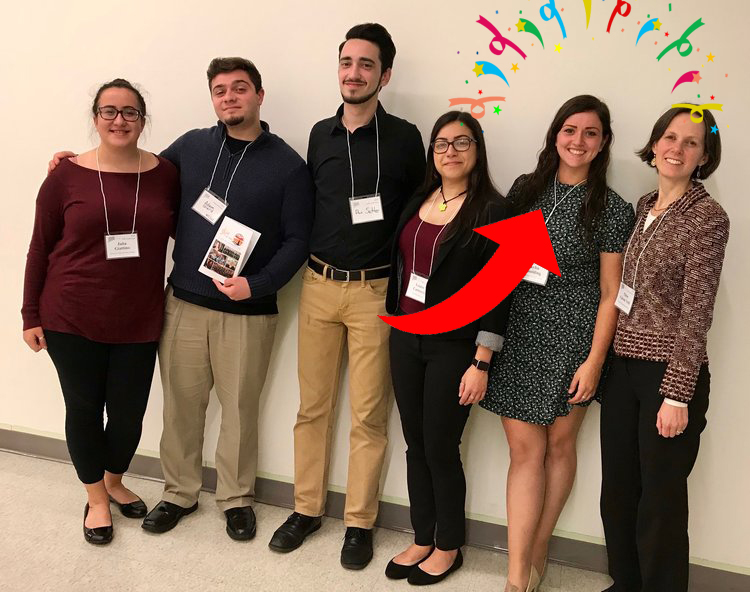 WestConn student members with their adviser, Dr. Ellen Voth, at the 2018 CT-ACDA Fall Conference.