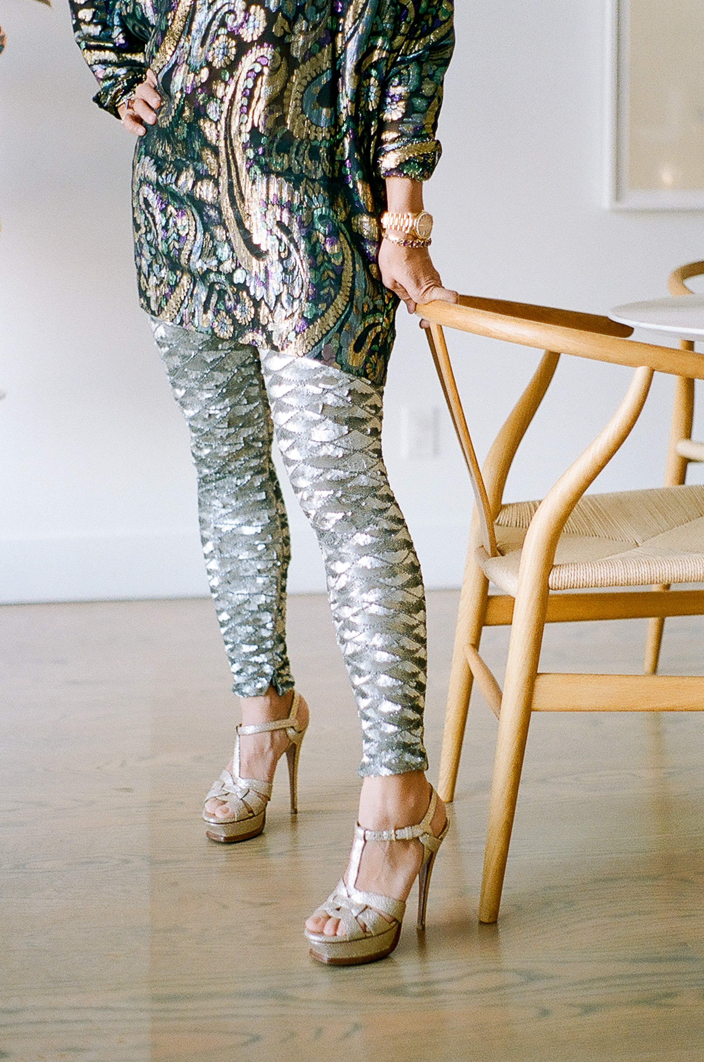 Lauren wears her own vintage sequined pants.
