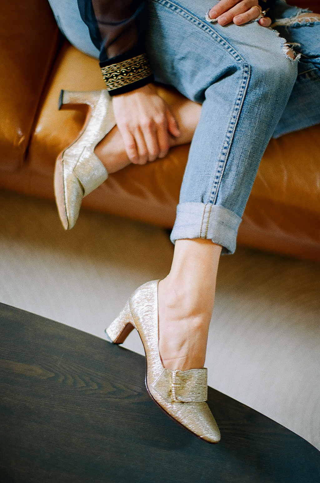 I love these vintage gold buckle heels.