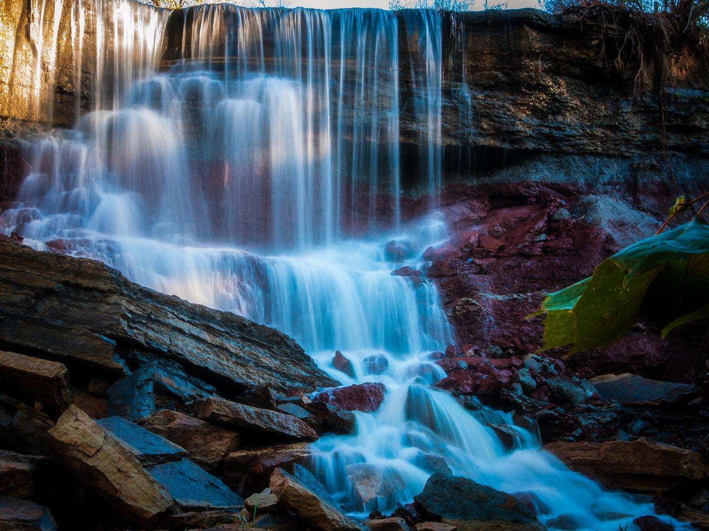 Waterfalls below Cowley County State Lake near Arkansas City, Kansas