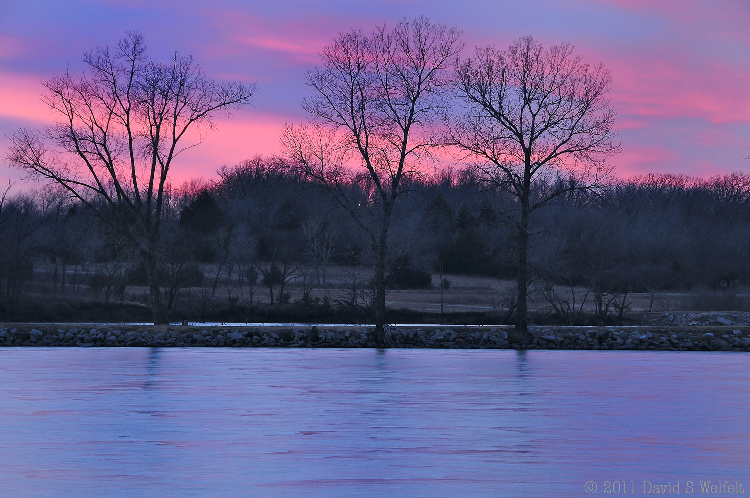 Winter sunset colors at Harvey County East Lake