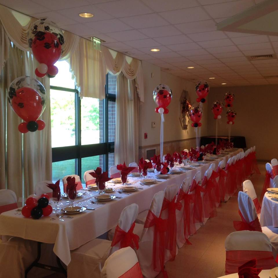 Red, White, and Black Graduation Balloons