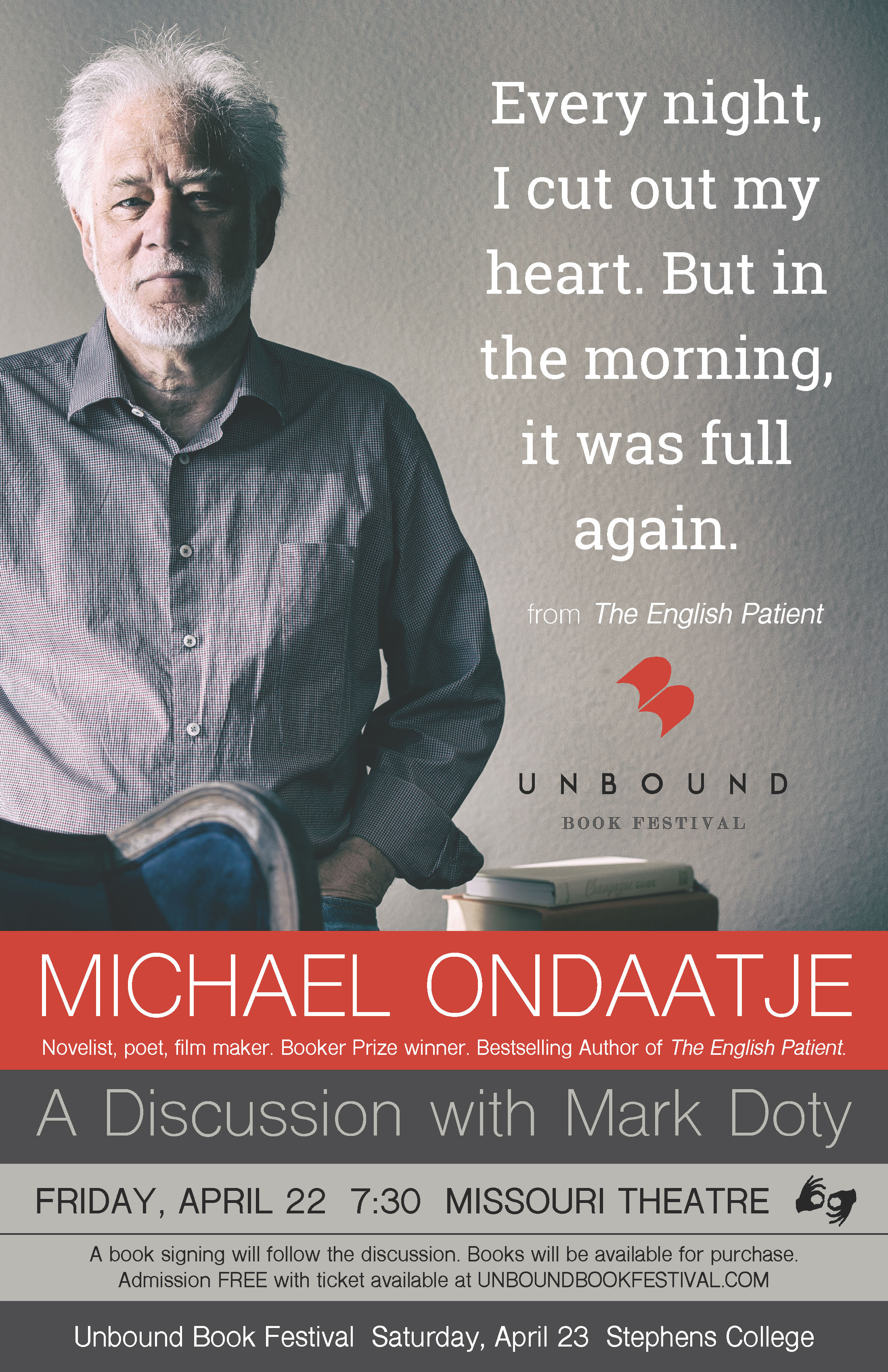 Unbound Book Festival Poster with Michael Ondaatje