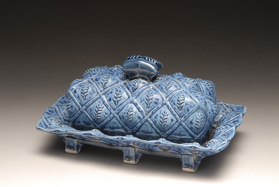 Bohls Blue Leaf Butter Dish.jpg