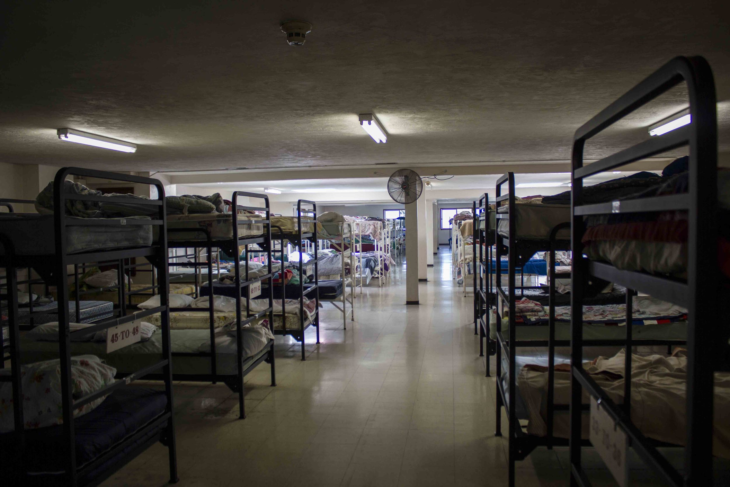 175 beds fit in this room--this is half of the male beds.