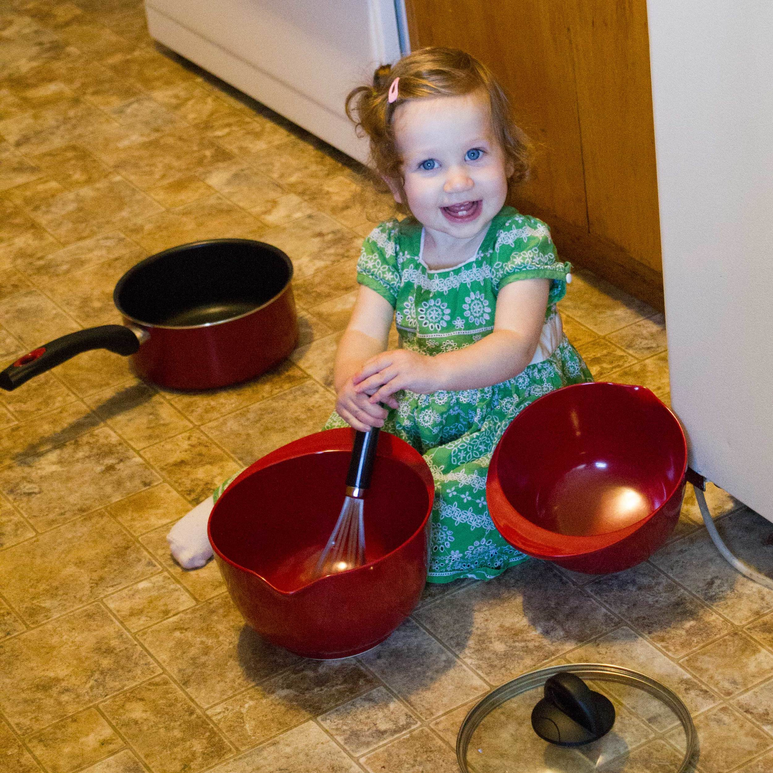 Stirring things up, just like she's seen me do.