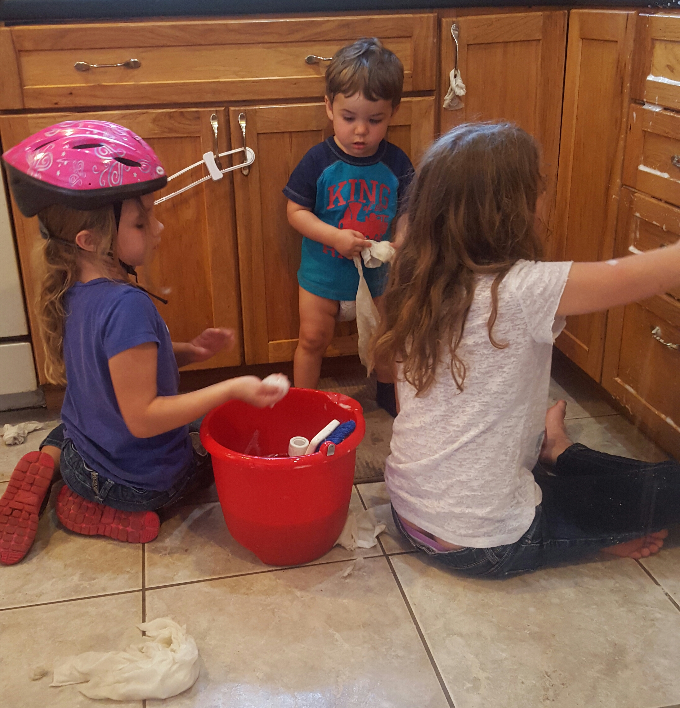 This is two of my girls (Kate, age 6 and Anna, age 9) and my son (17 months) scrubbing cabinets to earn money for charity.