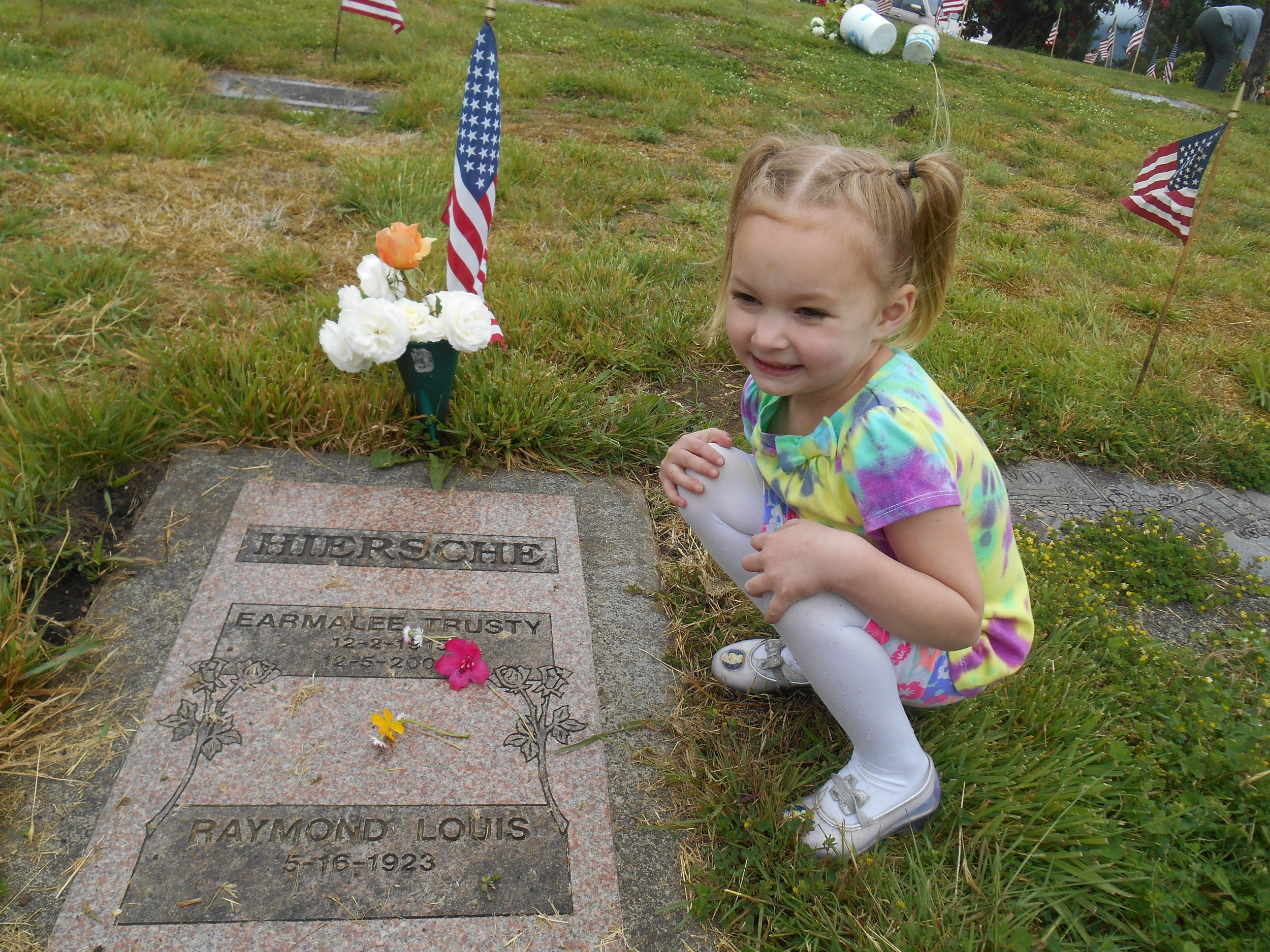 Ruby placed some flowers on this grave as I told her about my Granny who died before Ruby could meet her.